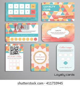 Set of loyalty cards with multicolored triangles and grid. Place for your text.
