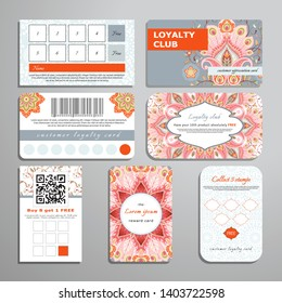 Set of loyalty cards. Oriental pattern with peacock feathers elements and round ornament