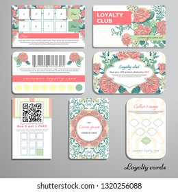 Set of loyalty cards. Ornament with french roses bouquet