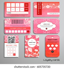 Set of loyalty cards. Pattern of flowers. Imitation of chinese porcelain painting. Place for your text.