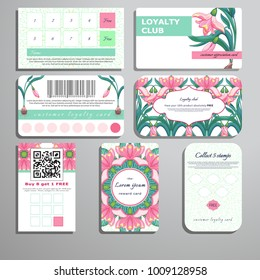 Set of loyalty cards. Pattern of leaves and snowdrops. Place for your text.
