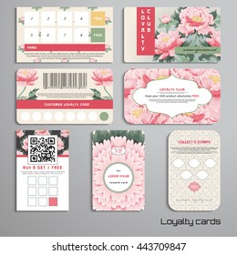 Set of loyalty cards. Pattern with peony flowers and geometry ornament. Place for your text.