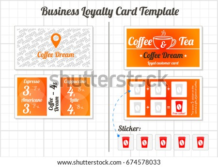set loyalty cards template coffee shop stock vector royalty free