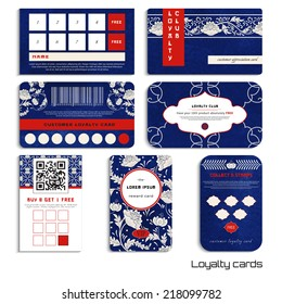 Set of loyalty cards.Beautiful flowers and blue watercolor background. Hand drawing. Imitation of chinese porcelain painting. Realistic shadows. Place for your text.