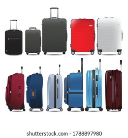 Set of luggage, baggage in side view & front view, Flat & realistic style of vector illustration.