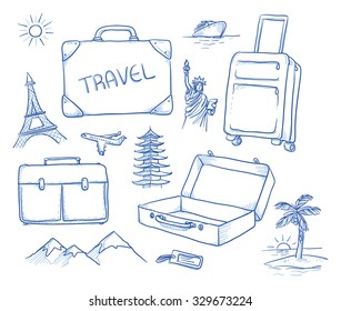 Set of luggage, bags and suitcases for a travel, journey, holiday. Icons of different landmarks: Paris, New York, Japan, mountains, island. Hand drawn vector illustration