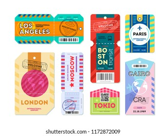 Set of luggage label tag registered. Retro travel luggage labels and baggage tickets with flight symbol