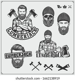 Set of Lumberjack labels, badges and design elements. Joinery and hand made emblems. Vintage style. Print design for t-shirt.