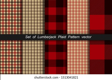 Set of Lumberjack plaid pattern. Lumberjack plaid and buffalo check patterns. Lumberjack plaid tartan and gingham patterns. Vector illustration background