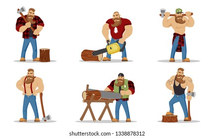 Set of lumberjacks brutal bearded mans in red checkered shirt with axe in hands. Woodcutters. Hiking and travel concept. Worker lumber with wood, character cartoon woodcutter on the white background.