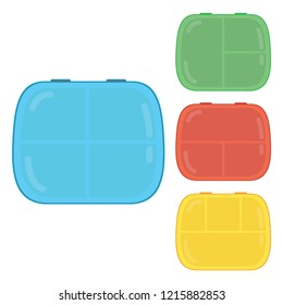 set with lunchboxes of different colors, boxing for snacks, comfortable design