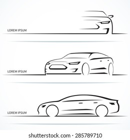 Set of luxury car silhouettes. Modern business sedan in three angles. Vector illustration