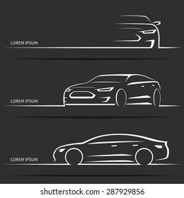 Set of luxury car silhouettes. Modern sports sedan. White linear vector illustration isolated on dark background.