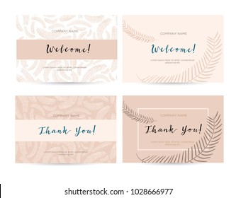 A set of luxury cards with the words of gratitude. Design template of business cards with floral elements for the hotel, beauty salon, spa, restaurant, club. Vector illustration