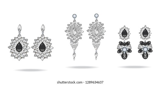 Set of luxury earrings with black gemstones. Onyx. Vector illustration