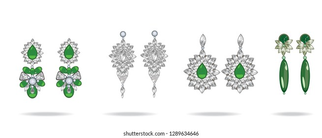 Set of luxury earrings with green gemstones. Emerald. Vector illustration.