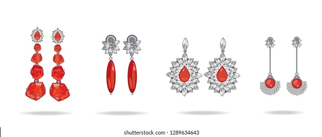 Set of luxury earrings with red gemstones. Ruby. Vector illustration.