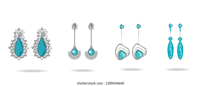 Set of luxury earrings with turquoise gemstones.  Vector illustration.