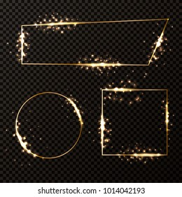 Set of luxury elegant golden frames with shiny gold sparkles,vector illustration.Decorative element for banner,templates,certificate,invitation,greeting card on transparent background