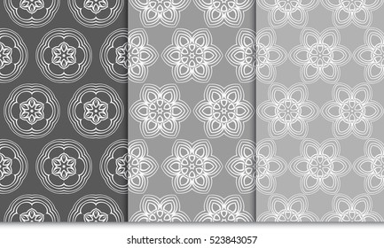 set of Luxury floral ornament. seamless pattern. grey color. vector illustration. for wallpaper, invitation
