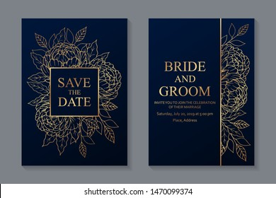 Set of luxury floral wedding invitation design or greeting card templates with golden peonies and leaves on a navy blue background.