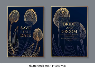 Set of luxury floral wedding invitation design or greeting card templates with golden tulips on a blue background.