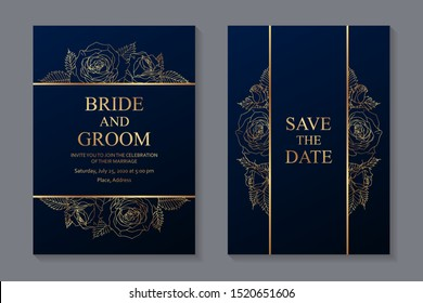 Set of luxury floral wedding invitation design or greeting card templates with golden roses on a navy blue background.