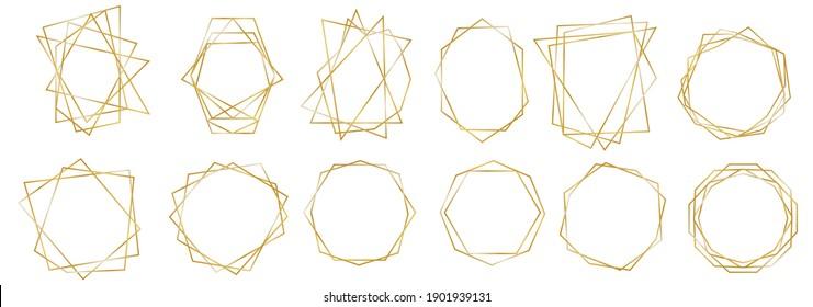 Set of Luxury Frames. Geometric Premium Gold Glitter Background, Wedding Cards. Polygon Borders Set. Realistic 3d Detailed Golden Polygonal Frames