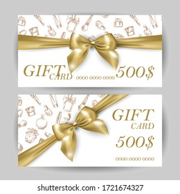Set of luxury gift cards with a gold bow, with cosmetics items:lipstick, cream, mascara, perfume.Vector template for gift cards, coupons, and certificates for beauty salons, stores, and cosmetics.