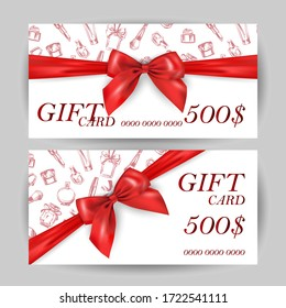 Set of luxury gift cards with a red bow, with cosmetics items:lipstick, cream, mascara, perfume.Vector template for gift cards, coupons, and certificates for beauty salons, stores, and cosmetics.
