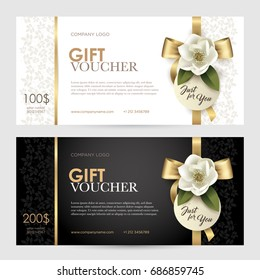Set of luxury gift voucher with a gold bow, ribbon and flower. Vector template for gift card, coupon and certificate for a spa, beauty salon, shops, cosmetics and restaurants.