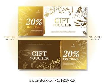 Set of Luxury Gift Voucher Template .Gold and Bright Background.Elegant Style.Vector/illustration