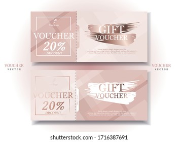 Set of Luxury Gift Voucher Template .Rose Gold and Bright Background.Elegant Style.Vector/illustration