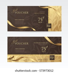 Set of luxury gift vouchers with golden ribbons and floral patterns on the deep brown background. Vector template for gift card, coupon and certificate. Isolated from the background