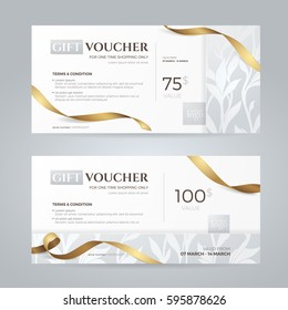 Set of luxury gift vouchers with golden ribbons and floral silver patterns. Vector layout for gift card, coupon and certificate. Isolated from the background.