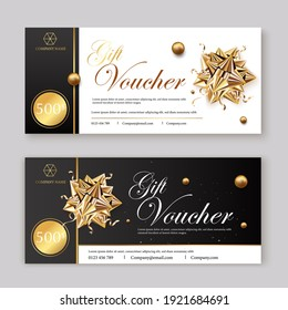 Set of luxury gift vouchers with ribbons and gift box. Elegant template for a festive gift card, coupon and certificate. Discount Coupon Template