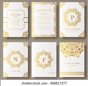 Set of Luxury Gold artistic pages with logo brochure template. Vintage art identity, floral, magazine. Traditional, Islam, arabic, indian. Decorative retro greeting card or invitation design