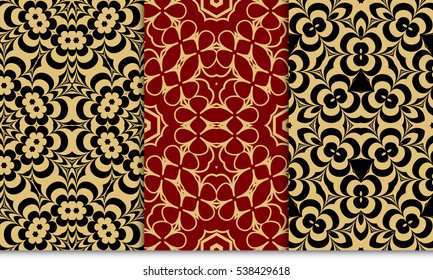 set of luxury gold color seamless floral decorative pattern. Vector illustration. For invitation, template, wallpaper