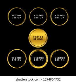 Set of luxury gold hand drawn circle vector design