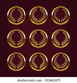 Set of luxury gold labels, medals, stickers with laurel wreath for design. Vector illustration.