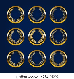 Set of luxury gold labels, medals, stickers, monograms, emblems with laurel wreath for design. Vector illustration