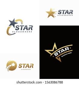 Set of Luxury Gold Star logo designs template, Elegant Star logo designs