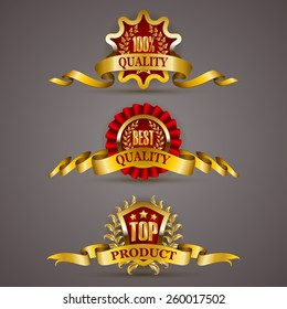Set of luxury golden badges with laurel wreath, ribbons. 100 % quality, best, top product. Promotion emblems, icons, labels, medal, blazons for web, page design. Vector illustration EPS 10.