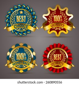 Set of luxury golden badges with laurel wreath, ribbons. 100 % quality, money back, best choice. Promotion emblems, icons, labels, medal, blazons for web, page design. Vector illustration EPS 10.