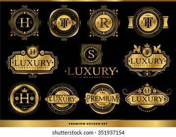 Set of luxury golden badges and stickers. Royal flourishes calligraphic. Luxury ornament lines.