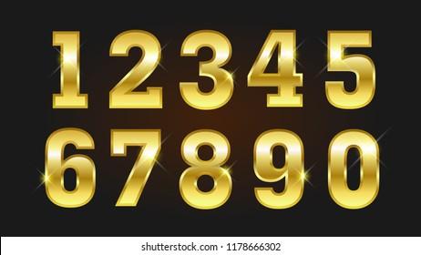 Set of luxury golden numbers vector.