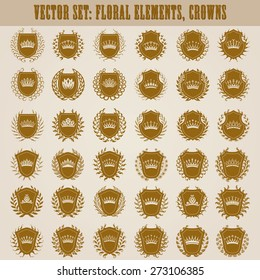 Set of luxury golden vector shields with laurel wreaths, crowns.