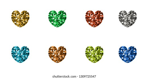 Set of luxury icons in the shape of hearts. Vector illustration. Multicolored spangle.