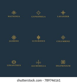 Set of luxury logo templates. Geometric stylized elements for ornaments, monogram, restaurant, floral, wedding vector design.