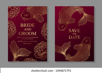 Set of luxury oriental wedding invitation design or greeting card templates with golden koi carps and peonies on a red background.